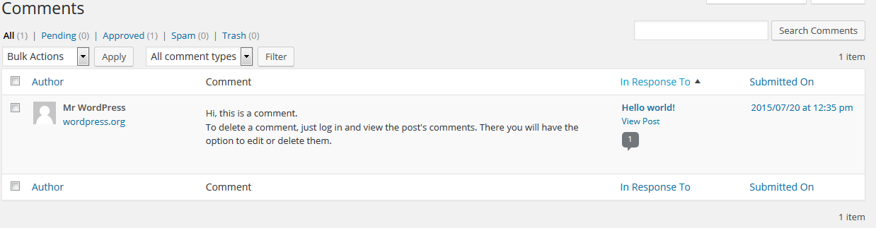 Default comment created in wordpress